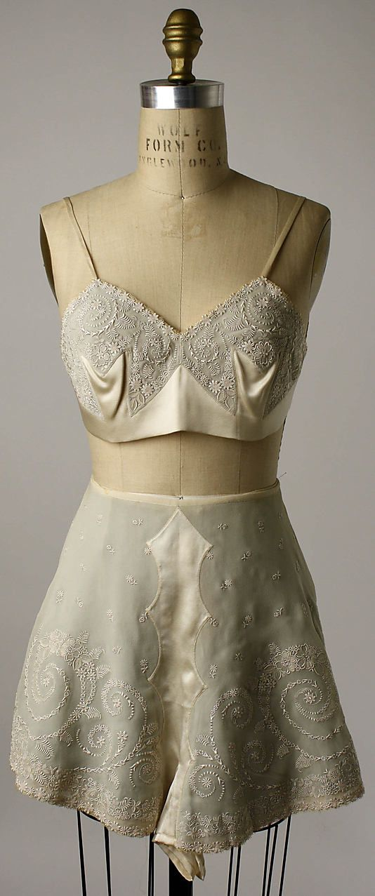Embroidered silk tap pants and bra, Chinese, early 1920s. Worn by Mrs. Herbert Sage Mesick (part of a lingerie set, with slip and nightgown).