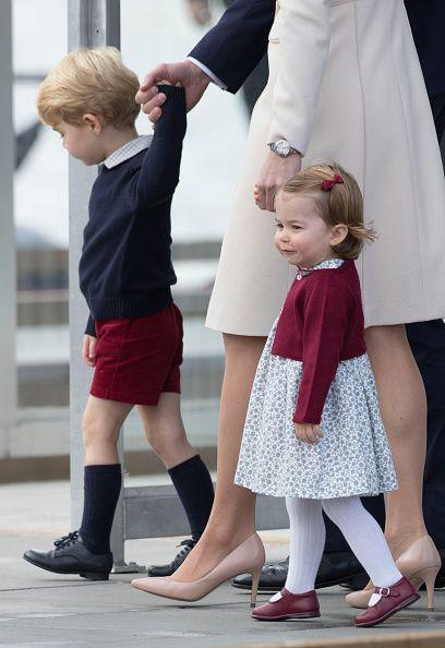 Prince George of Cambridge and Princess Charlotte of Cambridge depart Victoria on October 1 2016 in Victoria Canada