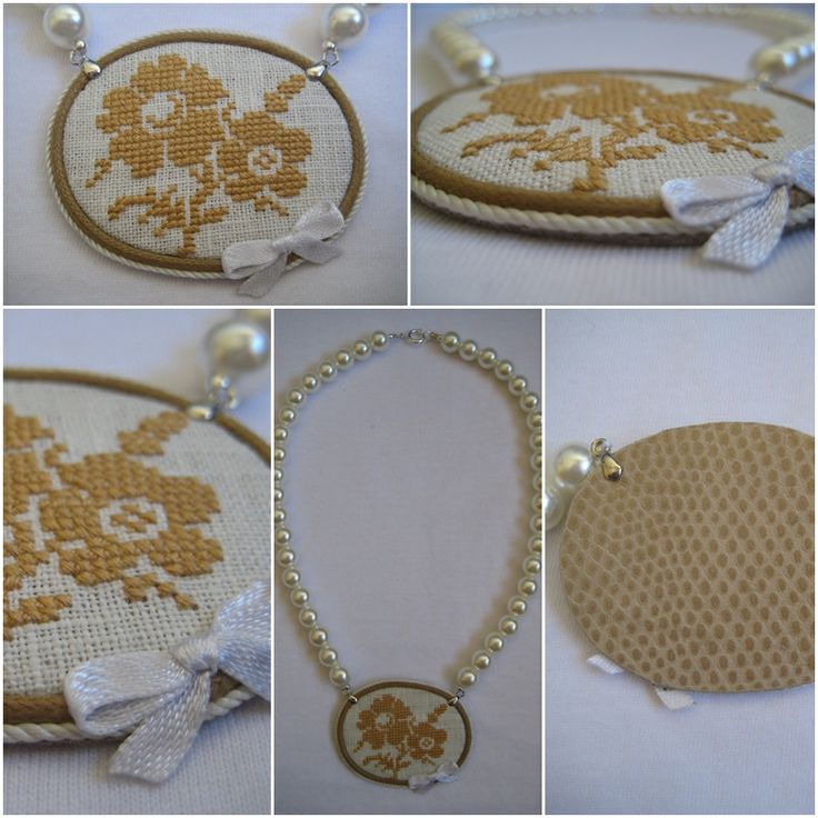 Necklace with cross stitch pendant