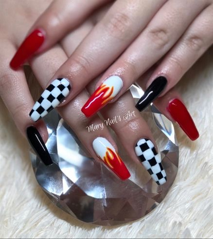 Flames And Checkers Mary Nails Art By Mary1nail From Nail Gallery