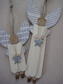 Popsicle stick/craft stick angel ornaments with book page/sheet music wings. From leaf and letter handmadechristmas decor