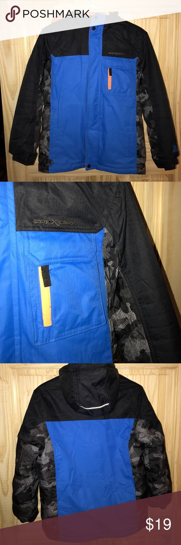 BOYS Winter Coat Royal blue and black boys winter jacket with orange accents. Hooded. See last pic for features. 18 inches across the waist. 23 inch sleeve.  24 inches long. NO TRADES. Reasonable offers welcomed. ZeroXposur Jackets & Coats Puffers