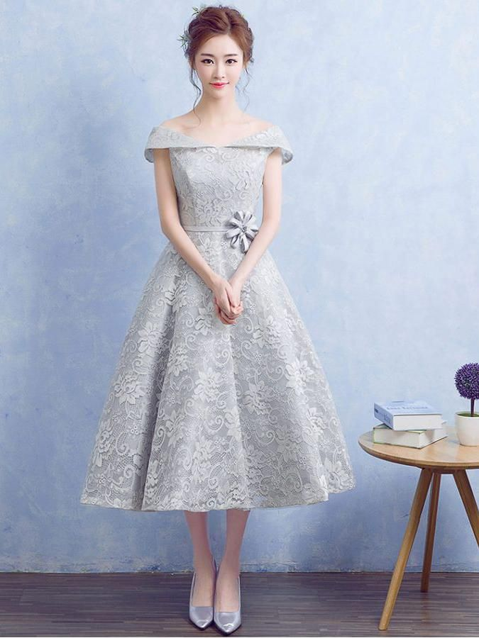Cute Silver Homecoming Dress Off-the-shoulder Lace Short Prom Dress Party Dress JK316