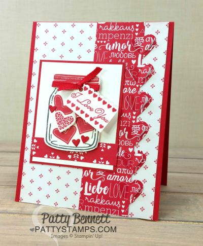 Sending Love Suite Valentine card ideas from the Stampin Up! 2017 Occasions catalog featuring Sending Love paper stack, Sealed with Love stamp set and Love Notes framelits, and Jar of Love bundle by Patty Bennett