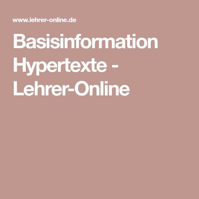 Basisinformation Hypertexte - Lehrer-Online