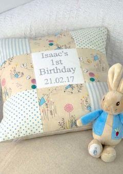 Peter Rabbit 1st Birthday Cushion