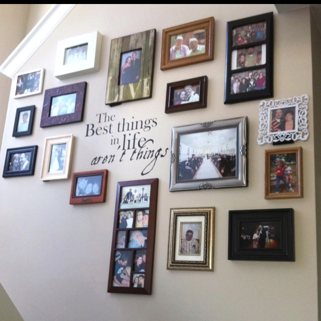 My stairway picture wall all I need is the quote!!