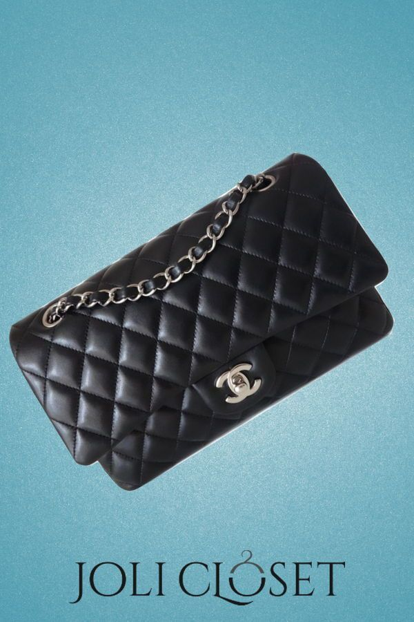 17312275588914 Nothing screams class quite like a classic Chanel handbag. Fashioned from  black quilted lambskin, this little crossbody bag is a marvel you  absolutely must ...