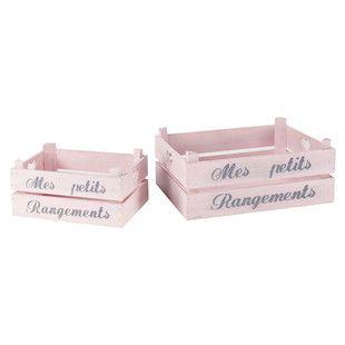 Conjunto de 2 cajas de madera Pastel