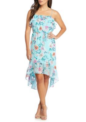 Charles Henry Women's Floral Printed Ruffle High Low Hem Dress - Sky Blue Floral Multi - M