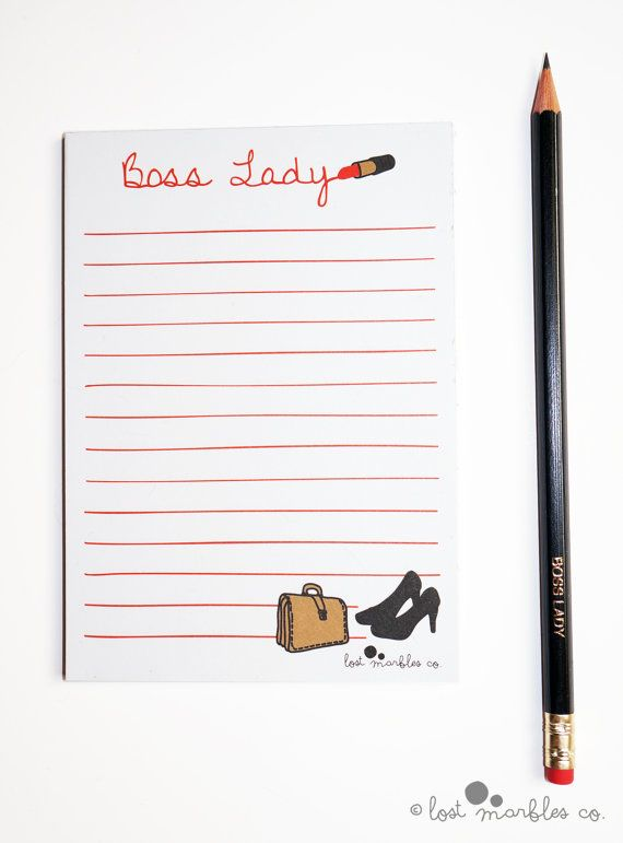Notepad  To-Do List  Jotter  Lined Notepad  Boss Lady Notepad by Lost Marbles Co