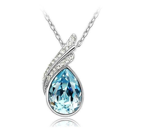 High Quality Fashion 18K GP crystal necklace pendant options 4 colour