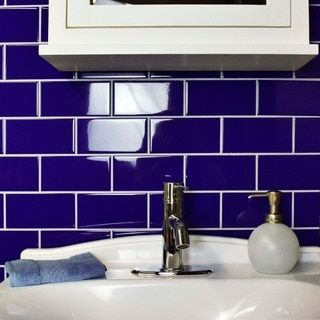 SomerTile 3x6-inch Malda Subway Glossy Royal Blue Ceramic Wall Tile (136/Case, 17 sqft.)