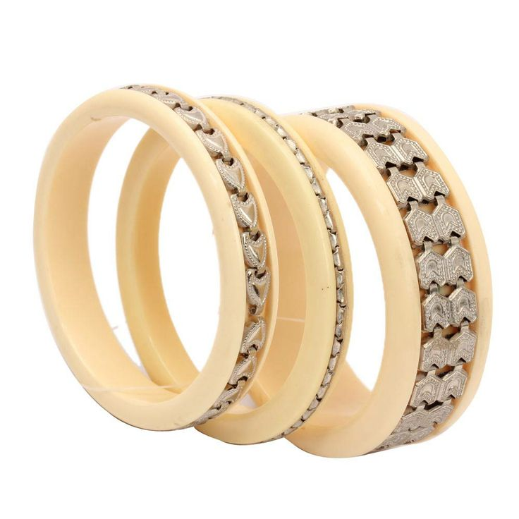 #Online_Shopping #Shopping_Online @ Khoobsurati.com Get This #Stylish_Traditional Ivory Color #Bangles http://khoobsurati.com/pdt/zovon/zovon-traditional-ivory-color-bangles-with-silver-geometric-pattern
