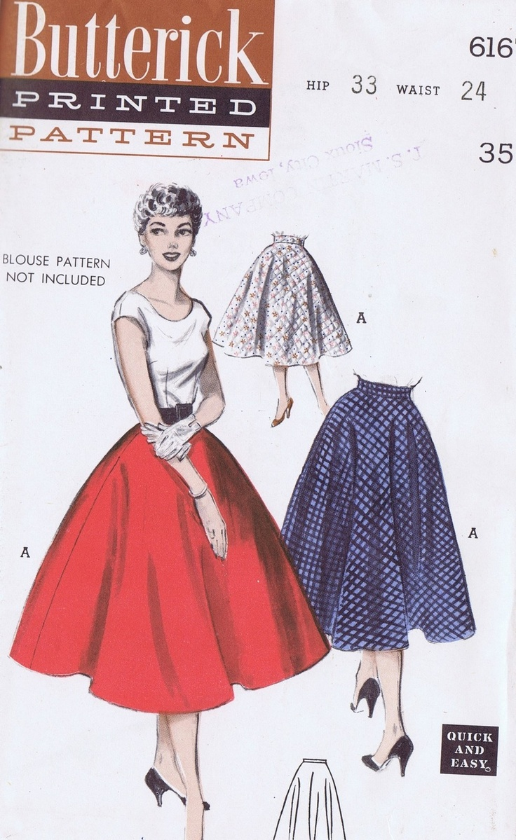 Boho tunic top blouses and dress 4009 trendy boho vintage gypsy - Vintage Skirt Sewing Pattern 6167 Butterick 1950s Size 12 Waist 24 Hip 33 Cut