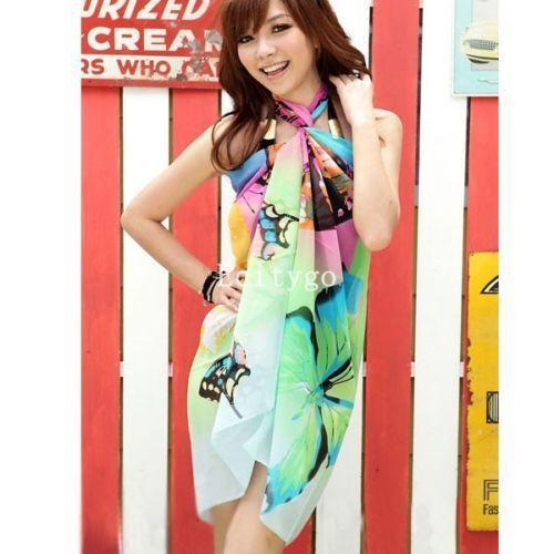 Frauen Sommer Kleid Damen Chiffon Wrap Sarong Beach Bademode Badeanzug Strand Ba…