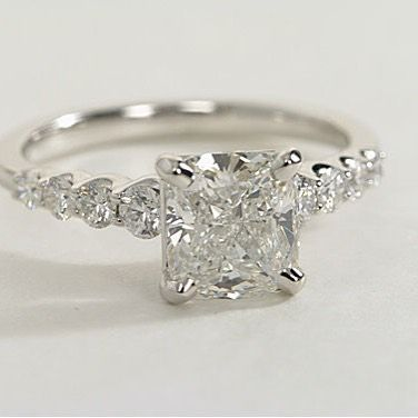 Princess Cut Engagement Ring with Graduated Floating Diamonds Along the Band #yourdiamondgirl #designsbykamni #trustyourjeweler