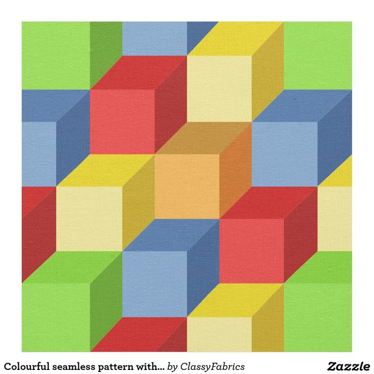 Colourful seamless pattern with isometric cubes fabric