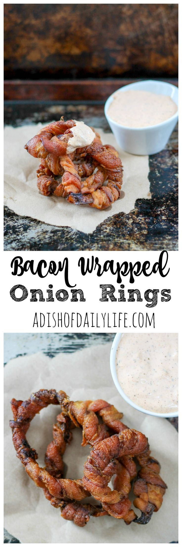 This crispy bacon-wrapped onion rings recipe is the perfect finger food appetizer for a party, as a side dish for your burger, or just an afternoon snack with friends. Dipped in chipotle sauce, they are a crowd-pleaser!