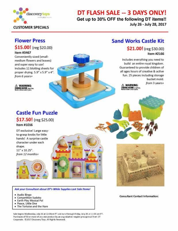 FLASH SALE from Discovery Toys for 3 days only (July 26-28)!!! Get these awesome products at a discounted price!! The Castle Fun Puzzle is amazing for little ones! There is so much you can do with this puzzle!!! Do you have children who love SAND? Do you have or want budding engineering skills in your children? You will want the Castle Sand Kit!! How about preserving the special flowers in your life? How about pressing flowers to make cards? This FLOWER Press would be a hit for children as…