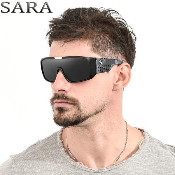 SARA Black Dragon Sunglasses For Men Sport Goggle Sun Glasses Oversized Frame Reflective Coating Glasses With Designer Box S2030