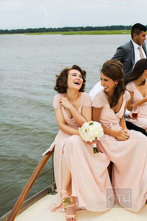 Blush-colored @joannaaugust #bridesmaiddresses | @christianoth | Brides.com