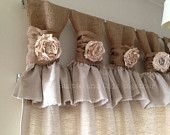 Burlap Drop cloth Wide ruched tabs curtains- Tea dyed rosette
