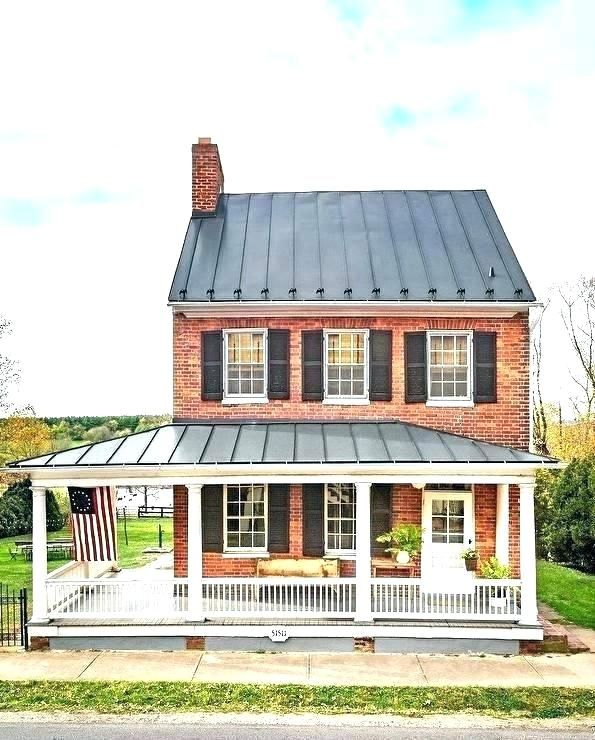Pin By Ben Griffith On 1955 House House Roof Red Brick House Tin Roof House