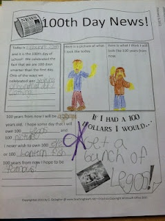 100th day ideas for aprox grade 1-2  100 days of school language arts activity