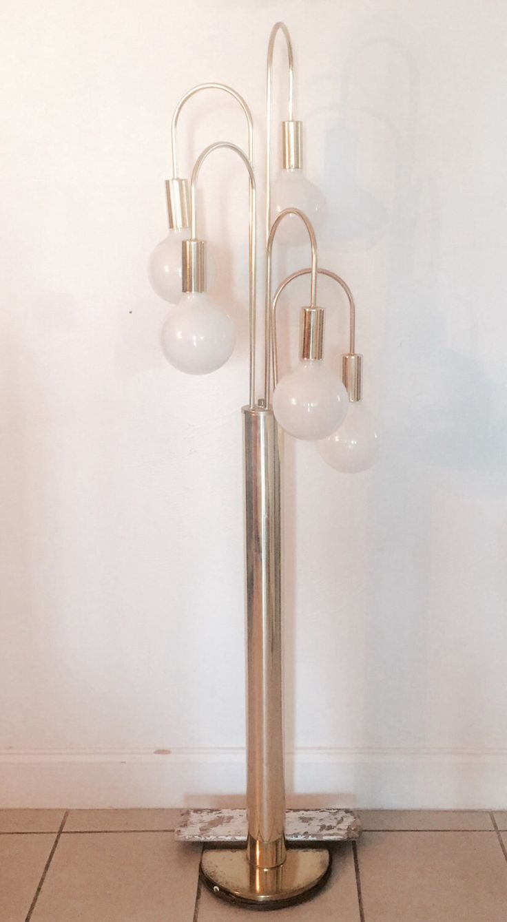 Mermaid floor lamp - Vintage Mid Century Sonneman Style Waterfall Eyeball Globe Floor Lamp Gold By Milanvintage On Etsy Https