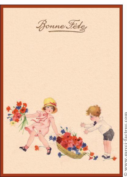 Carte Bonne fête et panier de fleurs pour envoyer par La Poste, sur Merci-Facteur !