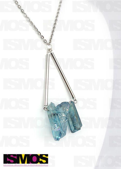ISMOS Joyería: collar de metal concuarzo azul // ISMOS Jewelry: quartz and metal necklace