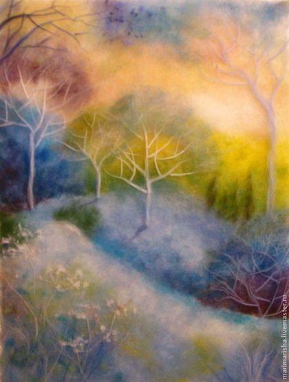 Пейзаж ручной работы. Ярмарка Мастеров - ручная работа. Купить Картина из шерсти Волшебный лес. Handmade. Картина в подарок, лес