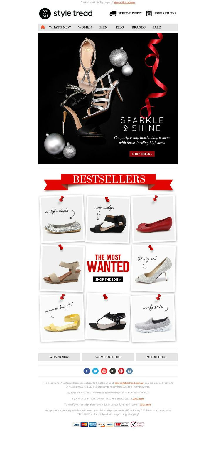 style tread holiday email best sellers