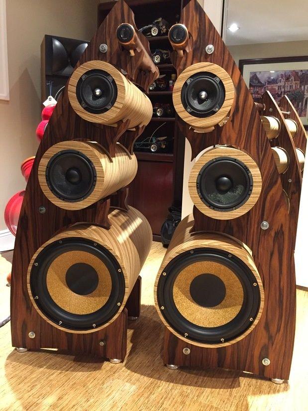 """Rosewood and zebrawood,Passive with active 12"""" woofers,Focal drivers....almost finished, little cabling and support machining. One of a kind 4 way."""