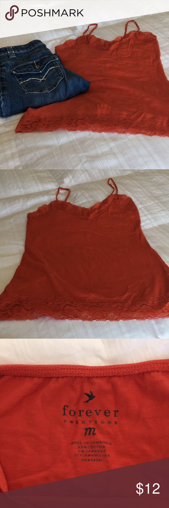 Forever 21 lace cami Cute orange lace cami Adjustable straps Forever 21 Tops Camisoles