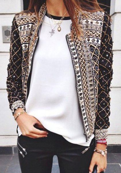 Full Print Trendy Style Stand Collar Long Sleeve Coat For Women