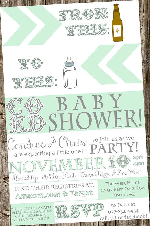 Baby Shower Invitation: From beer bottle to baby bottle- Mint & white co ed, typography, book instead of a card