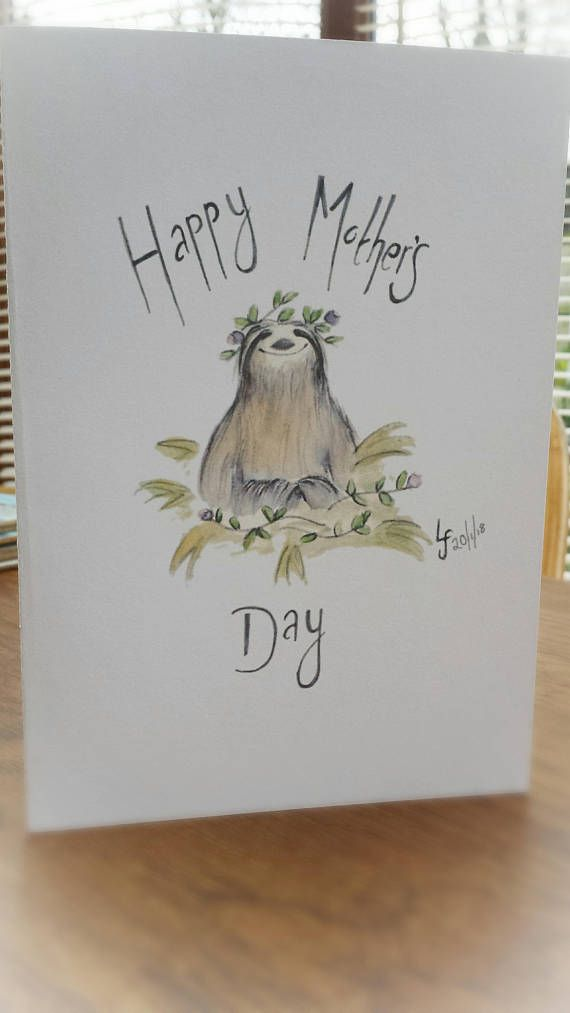 Mother S Day Sloth Card Cute Flowers Watercolour Painting