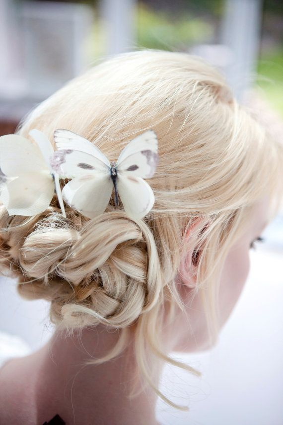 Ivory Silk Butterfly hair comb with Swarovski Crystals ideal