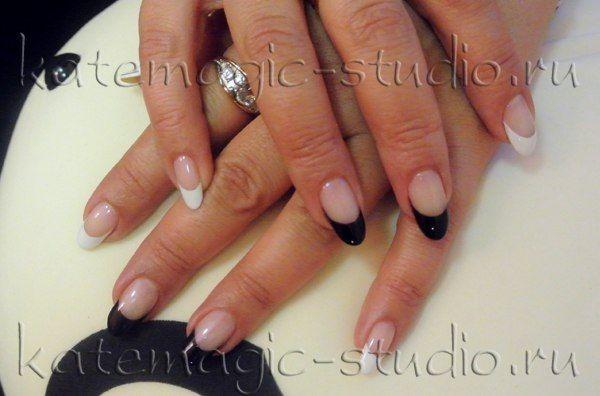 Маникюр, нейл-арт, шеллак, французский маникюр, цветной фрэнч, ч/б, нейл-дизайн, nail-art, nail-design,  shellac, рисунок на ногтях Студия KateMagic