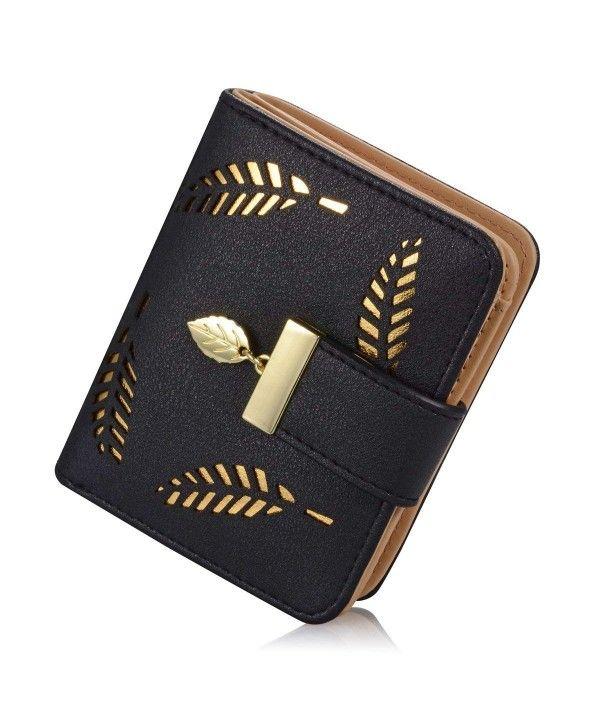 Womens Long Leaf Bifold Wallet Leather Hollow Card Holder Purse Clutch Handbag