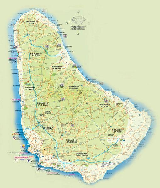 Tourist map of Barbados.