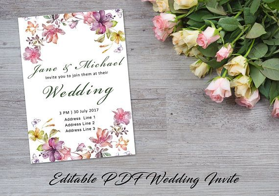 Wedding Invitation INSTANT DOWNLOAD | Editable Wedding Invite Template | Watercolor, pink, green, yellow | Mystical Collection | PDF