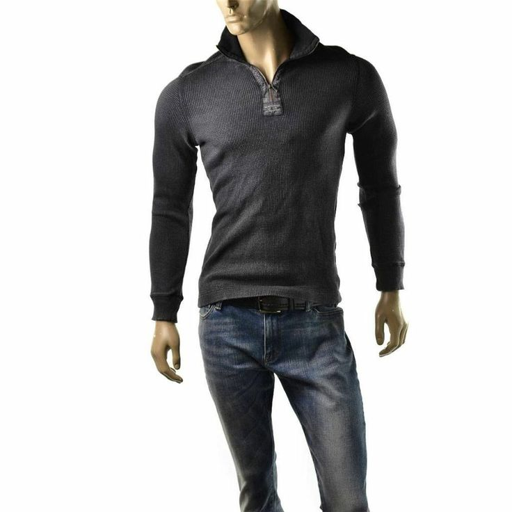 Special Offers ending soon! http://www.ebay.com/sme/imagestudio714/offers.html?&_trksid=p2047675.m1563 | Calvin Klein Jeans Shirt Mens Textured Henley Mock Neck Size S $79 NEW T Shirts #CalvinKleinJeans #Henley