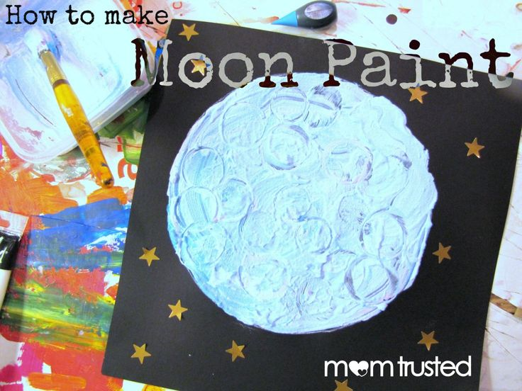 Moon paint - mix white paint with flour, use bottle tops to make craters!!
