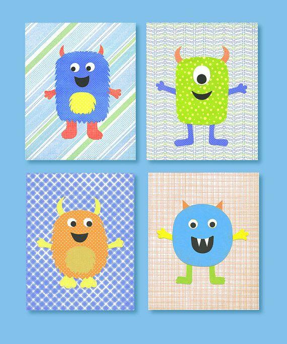 Monster Nursery Decor, Blue,Green, Orange, Yellow Nursery, Boy Nursery, Boys Room Art, 8 x 10 Nursery Print, cute nursery art on Etsy, $54.00