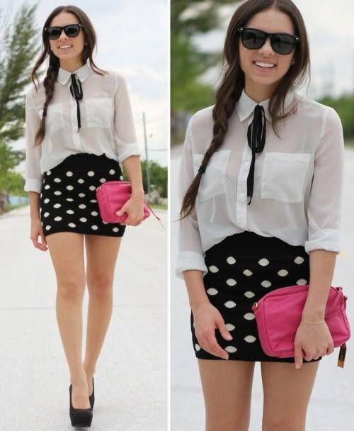 Polka dot mini skirt and white tie neck shirt and a pink clutch.....maga cute