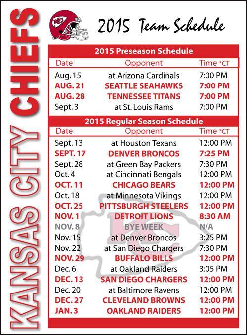 2015 Kansas City Chiefs Football Schedule Magnet #Magnet