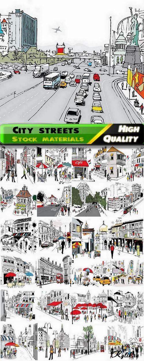 Городские улицы и люди - векторные графические иллюстрации